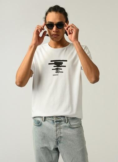People By Fabrika Erkek Baskılı  Tişört PFESS21TS0036 Beyaz